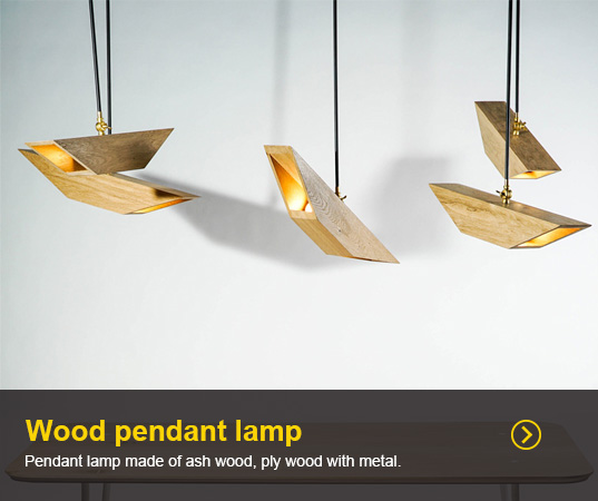 Pendant lamp made of ash wood, ply wood with metal