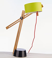 Green shade wood table lamp with metal base adjustable