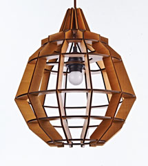 Wood pendant lamp like pineapple shape