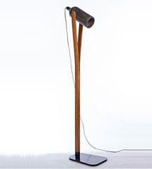 Cement shade and metal base wood floor lamp