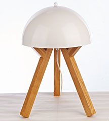 Tripod legs with white metal shade wood table lamp