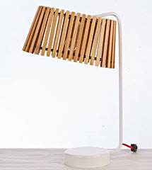 White metal base modern table wood lamp
