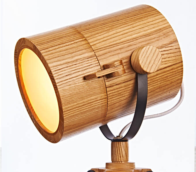 tripod base wood table lamp with astronomical telescope shape wood friends lighting. Black Bedroom Furniture Sets. Home Design Ideas